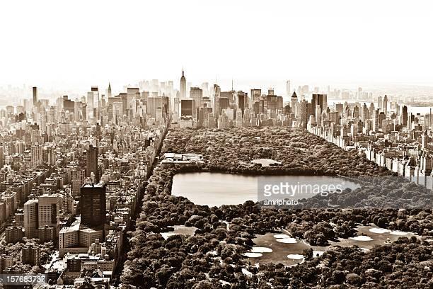 central park manhattan vintage aerial view