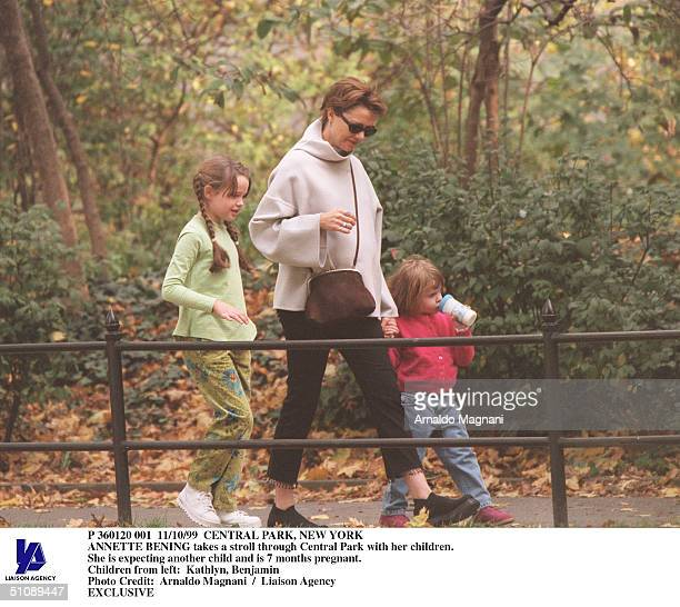 Central Park New York Annette Bening Takes A Stroll Through Central Park With Her Children She Is Expecting Another Child And Is 7 Months Pregnant...