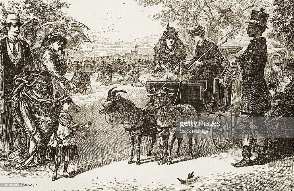 Central Park New York City 'Children's Goat Carriages in Central Park' circa 1880s