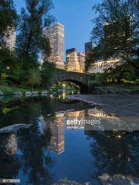 Central Park Pond and Bridge Night Reflection