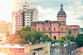 View of central districts with interesting architecture in Paraguay capital