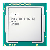 Central processor unit CPU top view isolated on white. 3d illustration