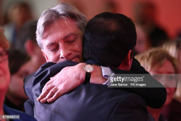 Central Scotland MSP Richard Leonard is congratulated by Glasgow MSP Anas Sarwar at the Glasgow Science Centre after he was announced as the new...