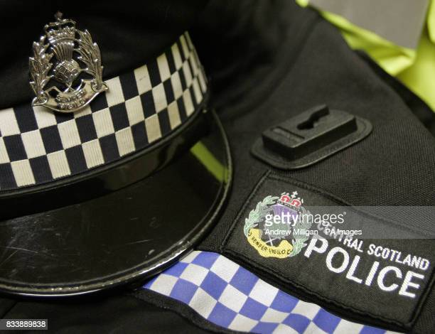 Central Scotland Police force badge and hat at police headquarters at Stirling Police Station at Randolphfield