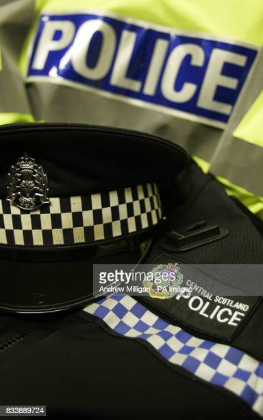 Central Scotland Police force Jacket hat and badge at police headquarters at Stirling Police Station at Randolphfield