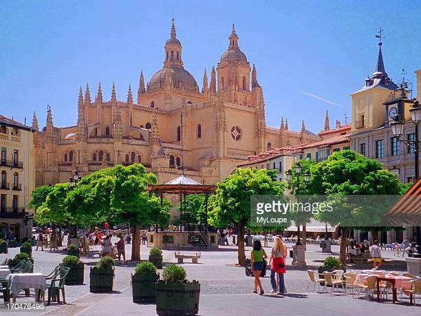 Central Square with Cathedral in Segovia Spain