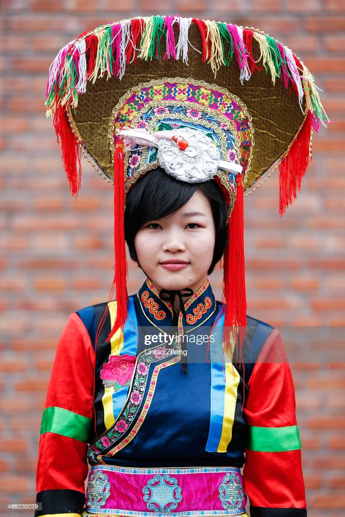 A Central University for Nationalities student wearing ethnic clothing before during the Minzu University Of China Graduates Show of 2014 China Graduate Fashion Week at the 751D-PARK Central Hall on April 23, 2014 in Beijing, China.
