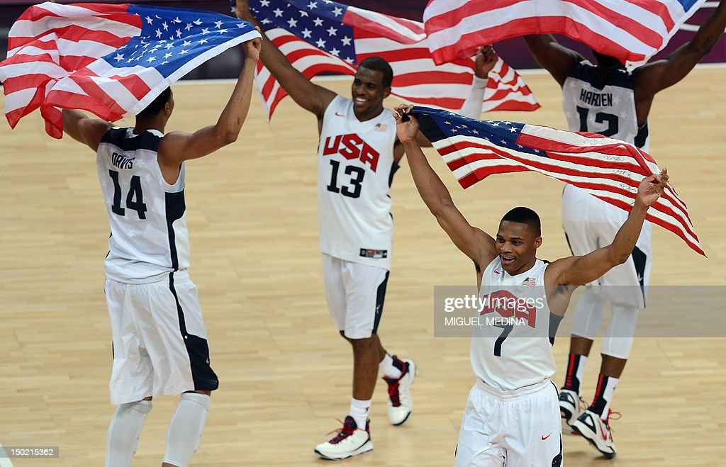 US centre Anthony Davis US guard Chris Paul US guard Russell Westbrook and US gard James Harden celebrate after winning the London 2012 Olympic Games...