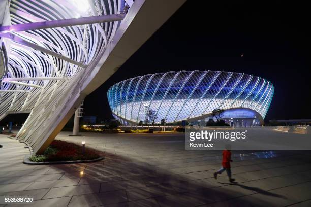 Centre court is illuminated at night during Day 2 of 2017 Wuhan Open on September 25 2017 in Wuhan China