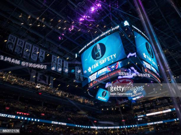 Centre Ice digital signage displays Fan Safety information before the NHL regular season hockey game between the Washington Capitals and Toronto...