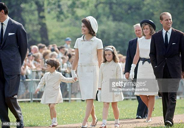 Centre left to right John F Kennedy Junior Jacqueline Kennedy and Caroline Kennedy with Prince Philip on the occasion of the dedication of the...