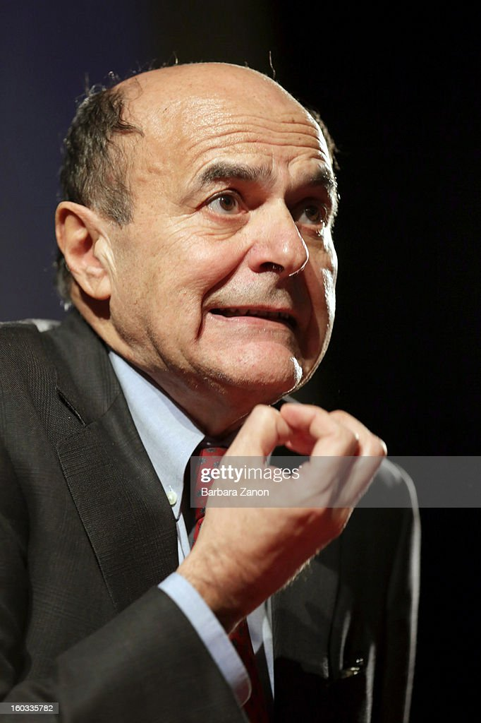 Centre-left candidate for Prime Minister Pierluigi Bersani speaks on stage during the presentation of Partito Democratico for Election Campaign at Cinema Excelsior on January 29, 2013 in Mestre, Italy. Polls show the centre-left coalition is favourite to win February's Elections.