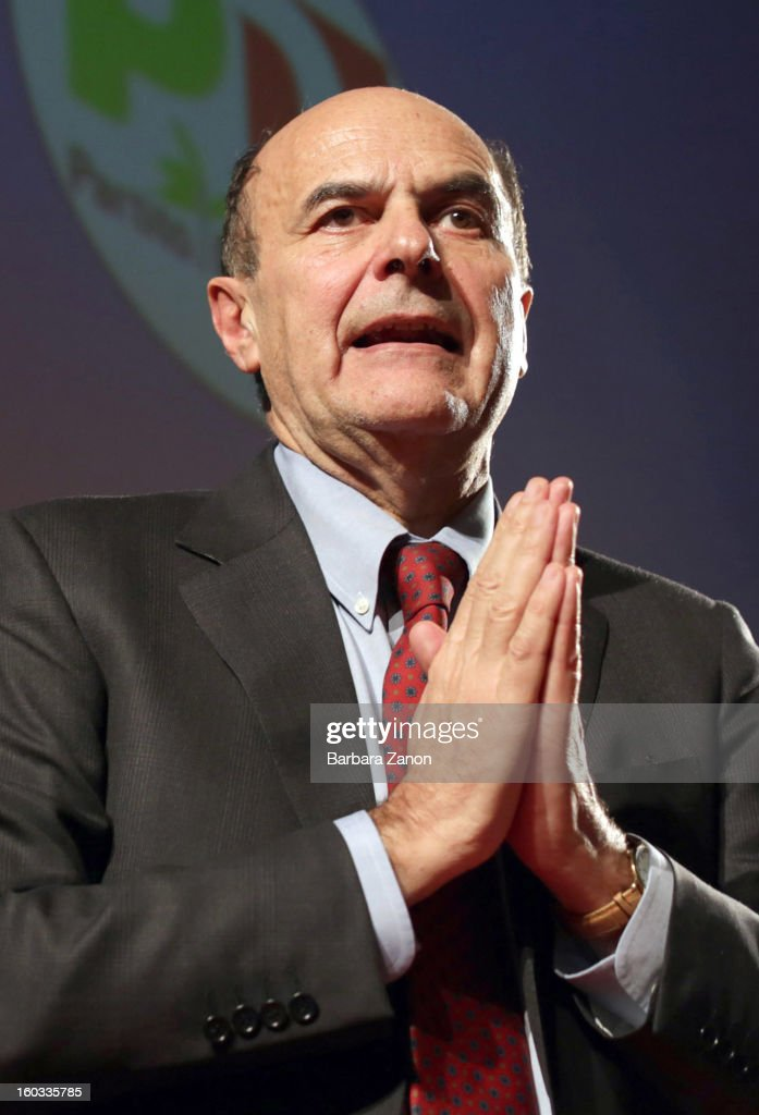 Centreleft candidate for Prime Minister Pierluigi Bersani speaks on stage during the presentation of Partito Democratico for Election Campaign at...