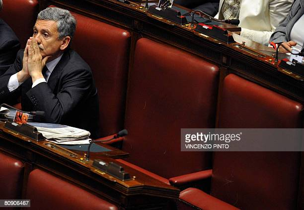 Centreleft Democratic party lmember and former Foreign Minister Massimo D'Alema gestures on April 29 in the Italian Lower House during the first day...