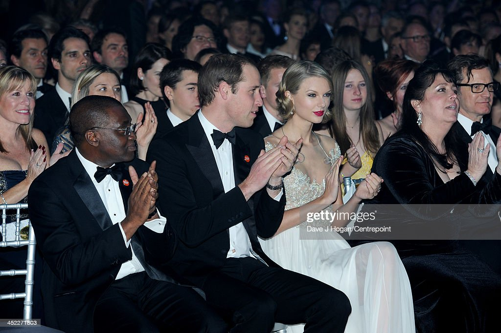 Centrepoint Chief Executive Seyi Obakin, Centrepoint Chief Executive , Prince William, Duke of Cambridge, Taylor Swift, Centrepoint Board of Trustee Danielle Alexandra and Colin Firth attend the Winter Whites Gala In Aid Of Centrepoint on November 26, 2013 in London, England.