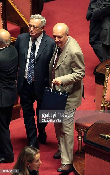 Centreright coalition's senators Giulio Tremonti and Sandro Bondi attend the Italian Parliament inaugural session at Senate on March 15 2013 in Rome...