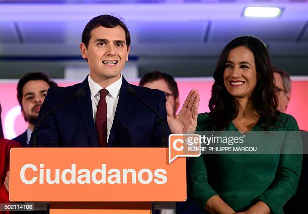 Centreright party Ciudadanos leader and candidate for the general election Albert Rivera speaks next to Ciudadanos' member Begona Villacis after the...