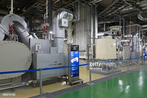 Centrifugal chillers stand in the main plant of the District Heating and Cooling System operated by Tobu Energy Management Co in the basement of the...