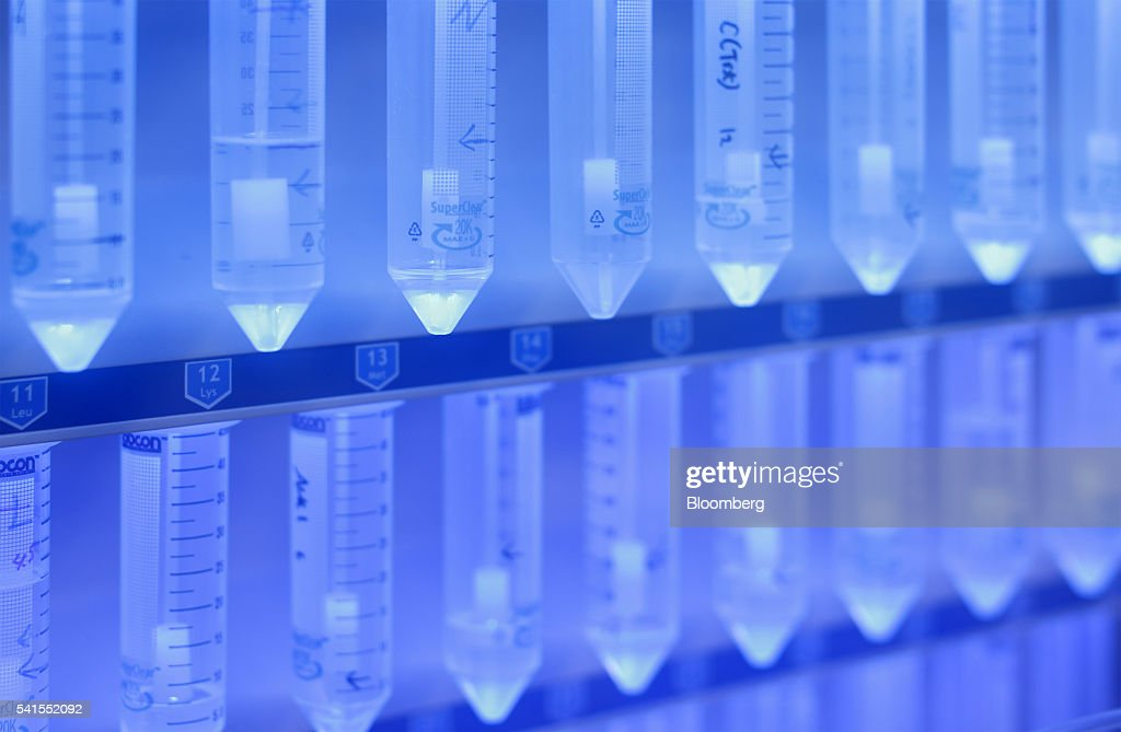 Centrifuge tubes containing amino acid are seen in an automated microwave peptide synthesizer at the PeptiDream Inc laboratory inside the The...