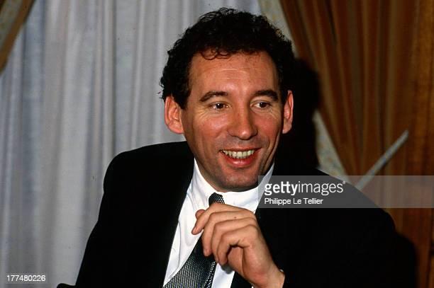 Centrist politician Francois Bayrou during a dinner in Paris in France 1988 François Bayrou homme politique Centriste lors d'un diner a Paris en...