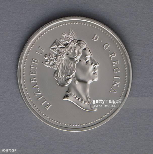 25 cents coin obverse queen Elizabeth II Canada 20th century