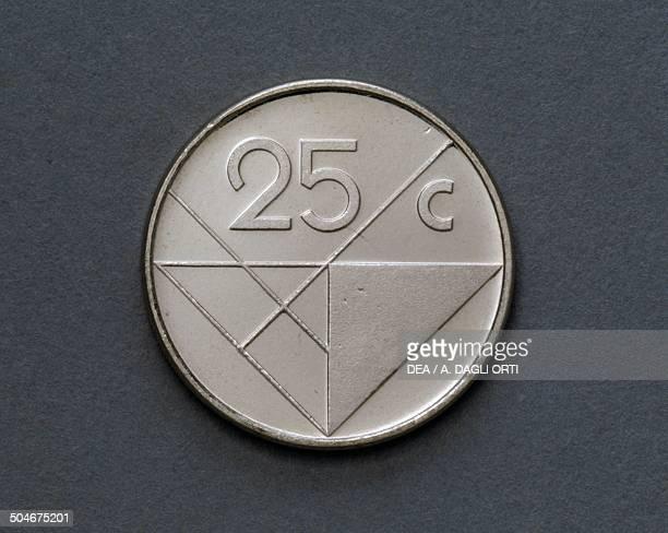 25 cents coin reverse Aruba 20th century