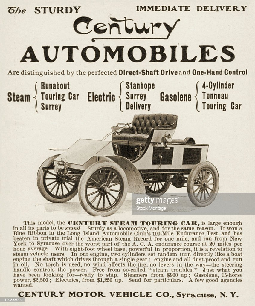 A Century Steam Touring Car is shown in a magazine advertisement from 1902 Prices listed in the ad are 'Steamers from $900 up Gasolene 15horsepower...