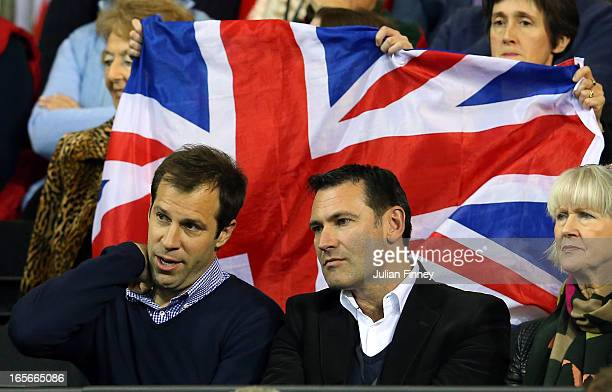 Ceo Roger Draper and ex tennis player Greg Rusedski watch on during day one of the Davis Cup match between Great Britain and Russia at the Ricoh...