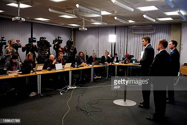 Ceo Statoil Helge Lund and Leader Of Secretariat Bjoern Otto Sverdrup and Stadoil's Director Of Foreign Affairs Lars Christian Bacher address a press...