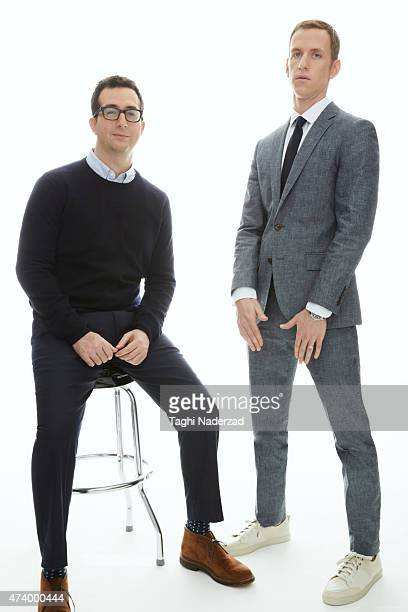 CEOs and cofounders of Harry's Jeff Raider and Andy KatzMayfield are photographed for Esquire Magazine The Big Black Book on January 22 2014 in New...