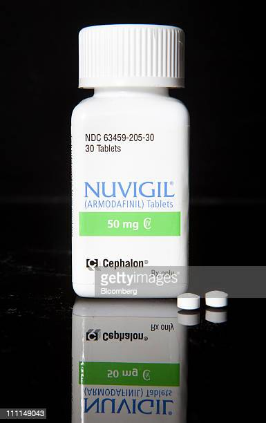 Cephalon Inc's Nuvigil used to treat excessive sleepiness caused by narcolepsy is arranged for photograph at a pharmacy in New York US on Wednesday...
