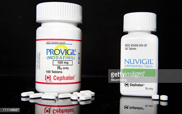 Cephalon Inc's Provigil and Nuvigil both used to treat excessive sleepiness caused by narcolepsy are arranged for photograph at a pharmacy in New...