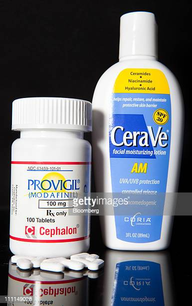Cephalon Inc's Provigil used to treat excessive sleepiness caused by narcolepsy left and CeraVe skin cleanser made by Valeant Pharmaceutical's Coria...