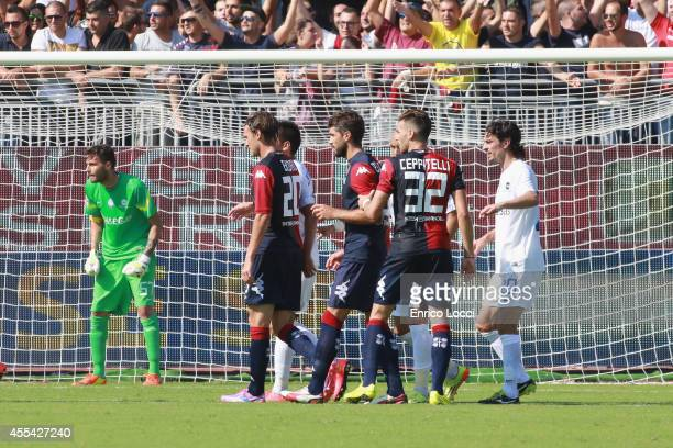 Ceppitelli Luca and Albin Ekdal of Cagliari look on during the Serie A match between Cagliari Calcio and Atalanta BC at Stadio Sant'Elia on September...
