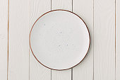 Ceramic glazed plate on white wooden background