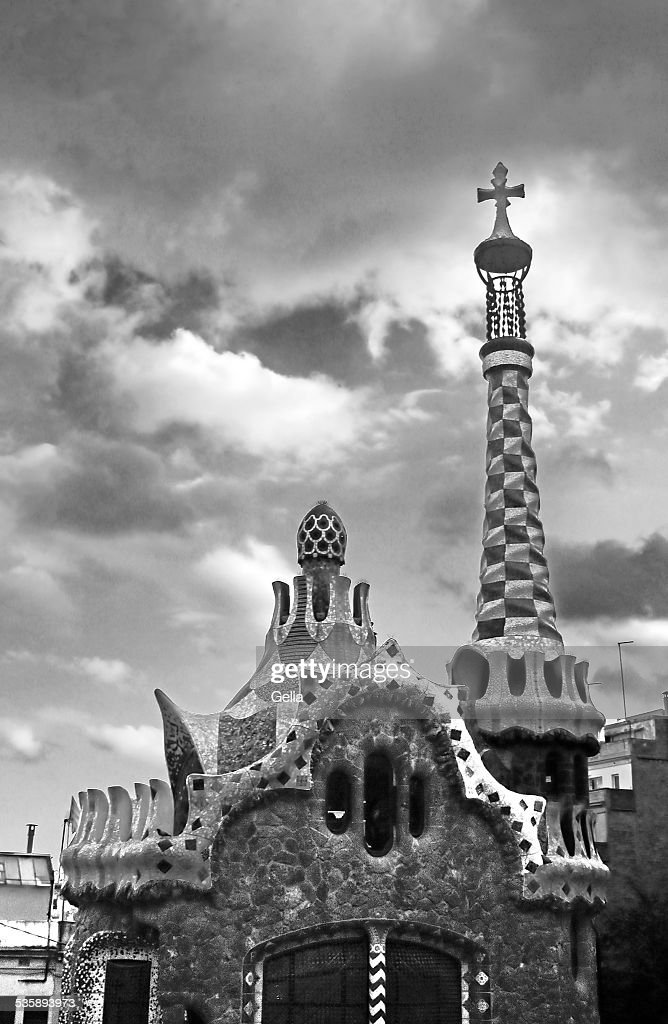 Ceramic mosaic Park Guell in Barcelona, Spain : Stock Photo