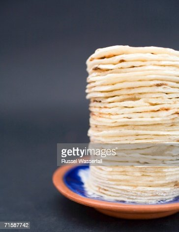 A Ceramic Plate with Pile of Rotis