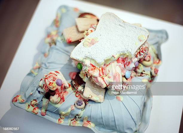 A ceramic sculpture of melting ice cream by artist Anna Barlow is displayed at the Collect art fair at Saatchi Gallery on May 9 2013 in London...