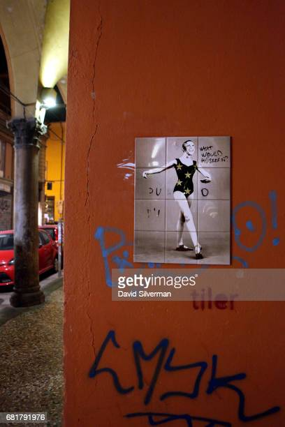 Ceramic tile graffiti showing former US President Barack Obama as a ballet dancer possible Misty Copeland is seen on a wall on Via Oberdan on March...