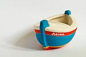 Handmade ceramic toy boat