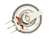 Ceramic variation resistor taken closeup isolated on white background.