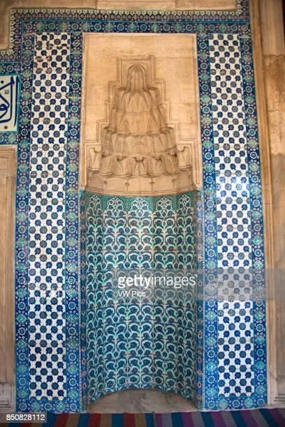 Ceramic wall tiles inside Rustem Pasha Mosque Eminonu Istanbul Turkey
