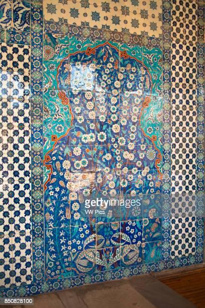 Ceramic wall tiles outside Rustem Pasha Mosque Eminonu Istanbul Turkey