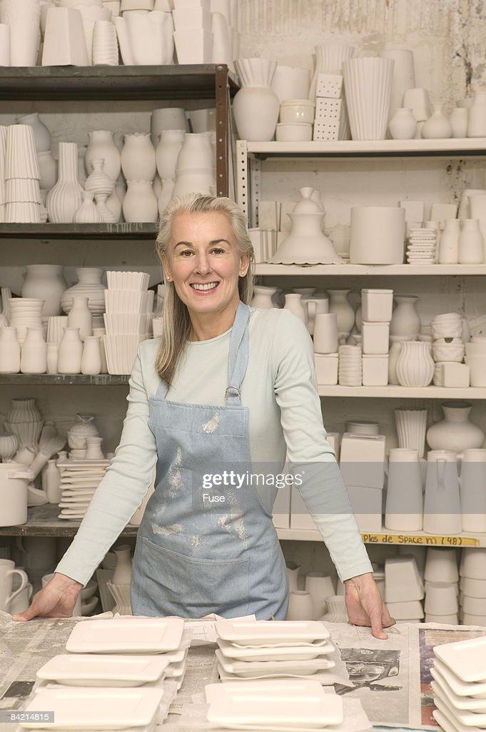 Ceramicist in Her Studio