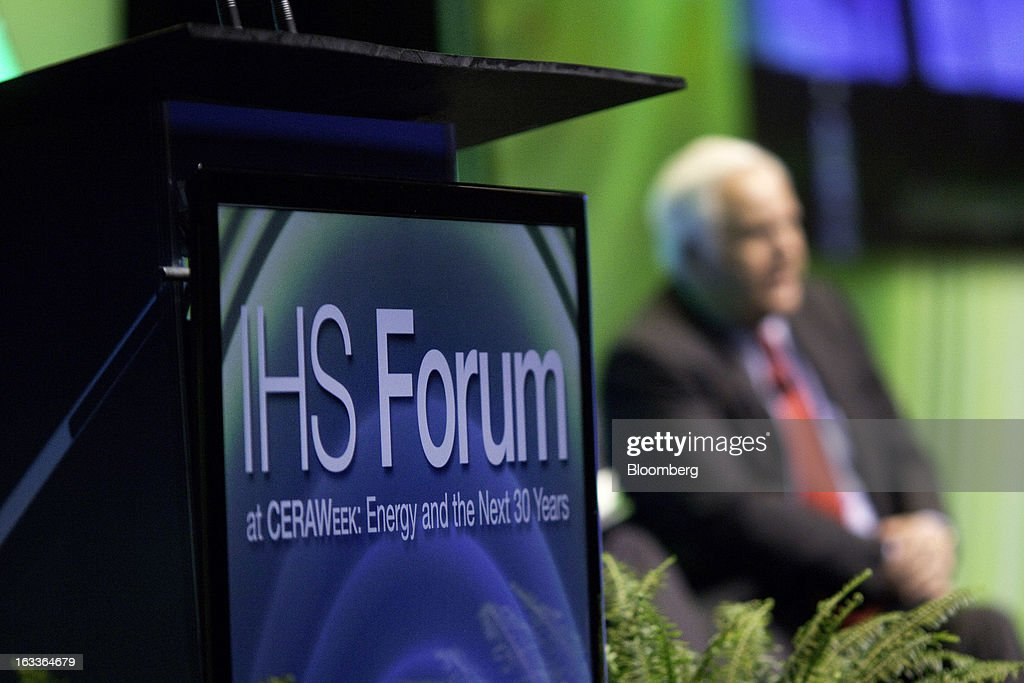 IHS CERAWeek signage is seen as Frederick 'Fred' Smith, president and chief executive officer of FedEx Corp., speaks during the 2013 conference in Houston, Texas, U.S., on Friday, March 8, 2013. IHS CERAWeek is a gathering of senior energy decision-makers from around the world and provides presentations from senior industry executives, government officials and thought leaders on the changing energy playing field. Photographer: F. Carter Smith/Bloomberg via Getty Images