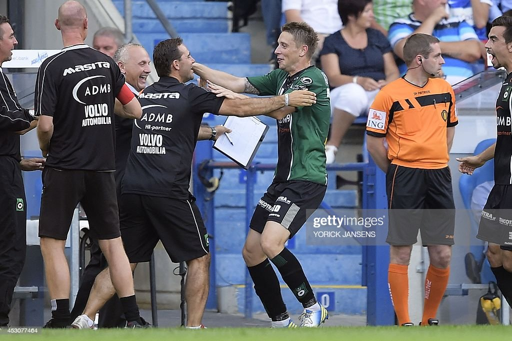 Cercle's Stipe Bacelic-Grgic celebrates after scoring during the Jupiler Pro League match between KRC Genk and Cercle Brugge KSV, in Genk, on August 2, 2014, on day 2 of the Belgian football championship.