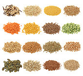 Cereal,grain and seeds collection-wild rice,natural rice,millets,buckwheat,orange lentils, yellow lentils,brown lentils, split peas,oat, wheat, rye, chickpea, pumpkin seeds,sunflower seeds, brown flax