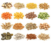 Cereal,grain and seeds collection isolated on white background. Macro shots.