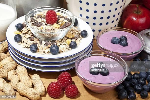 Cerealien und Joghurt mit Fruechten und Milch |Cereals and yogurt with fruit and milk|