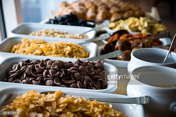 cereals and dried fruits on a breakfast buffet